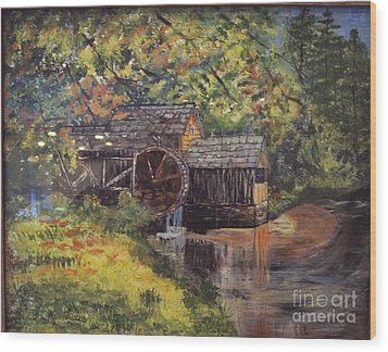 Waterwheel In Autumn Wood Print by Lucia Grilletto
