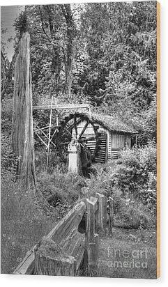 Waterwheel In Black And White Wood Print