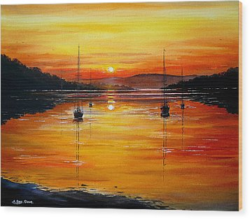 Watery Sunset At Bala Lake Wood Print by Andrew Read