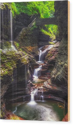 Watkins Glen Rainbow Falls Wood Print
