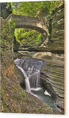Watkins Glen Waterfalls Wood Print by Anthony Sacco