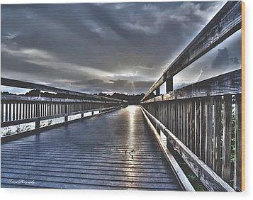Watson Bayou Pier Hdr Wood Print