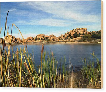 Watson Lake Wood Print by Kurt Van Wagner