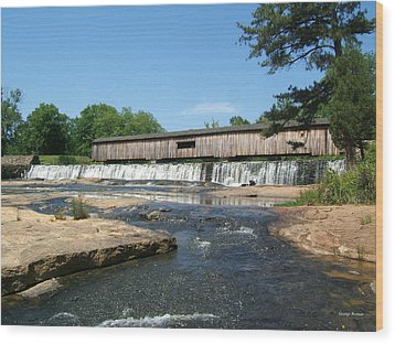 Watson Mill Covered Bridge 010 Wood Print by George Bostian