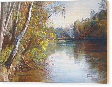 Wattle Time Goulburn River Wood Print by Lynda Robinson