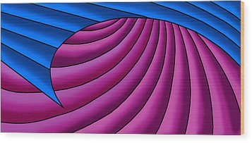 Wood Print featuring the digital art Wave - Blue And Plum by Judi Quelland