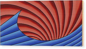 Wood Print featuring the digital art Wave - Blue And Red by Judi Quelland