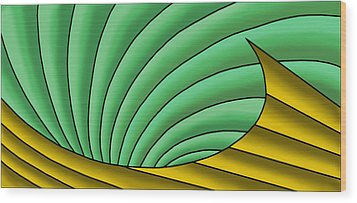 Wood Print featuring the digital art Wave  - Gold And Green by Judi Quelland