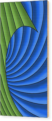 Wood Print featuring the digital art Wave - Green And Blue by Judi Quelland