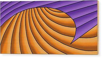 Wood Print featuring the digital art Wave - Purple And Orange by Judi Quelland