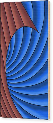 Wood Print featuring the digital art Wave - Red And Blue by Judi Quelland