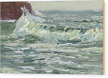 Wave Action Wood Print by Patricia Seitz