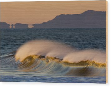 Wood Print featuring the photograph Wave And Island 73a5281 by David Orias