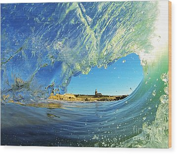 Wood Print featuring the photograph Wave And Lighthouse 1 by Paul Topp
