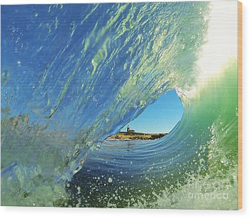 Wood Print featuring the photograph Wave And Lighthouse 2 by Paul Topp