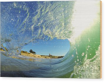 Wood Print featuring the photograph Wave And Lighthouse 3 by Paul Topp