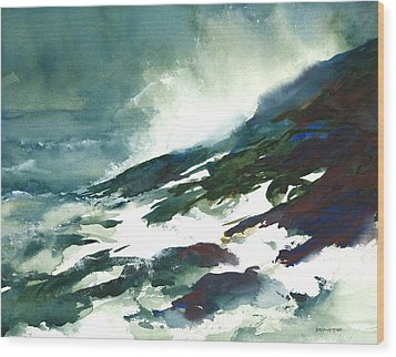 Wave And Rocks - Storm On The North Shore Wood Print by William Beaupre