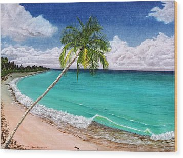 Wave Break Beach Wood Print by Kevin F Heuman