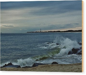 Wood Print featuring the photograph Wave Crashing At Cape May Cove by Ed Sweeney