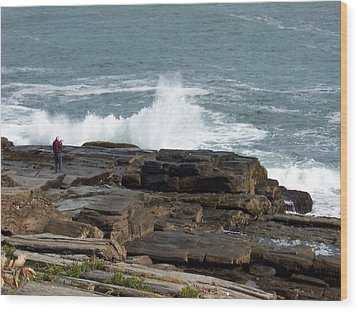 Wave Hitting Rock Wood Print by Catherine Gagne