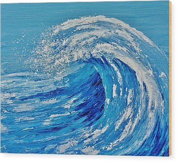 Wood Print featuring the painting Wave by Katherine Young-Beck