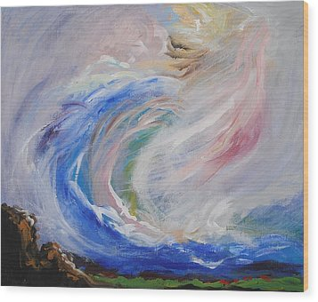 Wave Of Healing Wood Print by Patricia Kimsey Bollinger