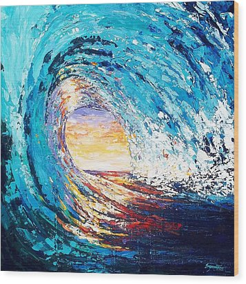 Wave Of Light Wood Print by Suzanne King