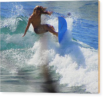 Wave Rider Wood Print by Karen Wiles