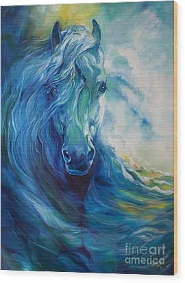 Wave Runner Blue Ghost Equine Wood Print by Marcia Baldwin
