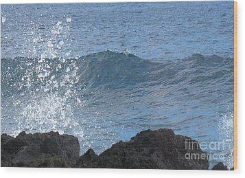 Wave - Vague - Ile De La Reunion - Island Reunion Wood Print by Francoise Leandre