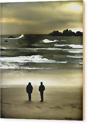 Wave Watchers Wood Print