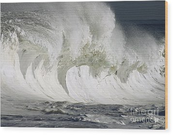 Wave Whitewash Wood Print by Vince Cavataio