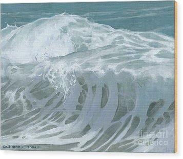 Wave X Wood Print by Clinton Hobart