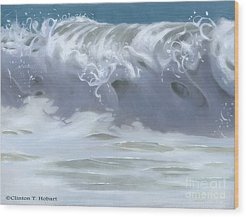 Wave Xiii Wood Print by Clinton Hobart