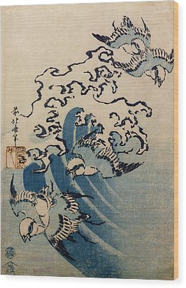 Waves And Birds Wood Print by Katsushika Hokusai