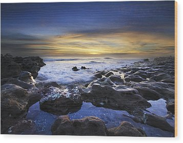 Waves At Coral Cove Beach Wood Print by Debra and Dave Vanderlaan