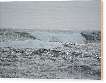 Waves At Koloa Wood Print