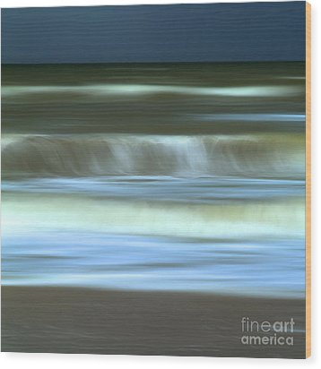 Waves Wood Print by Bernard Jaubert
