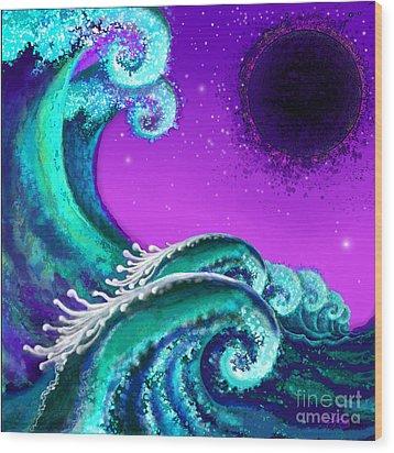 Waves Wood Print by Carol Jacobs