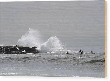 Waves Crash Against Beach 91st Jetty Wood Print by Maureen E Ritter