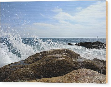 Waves Crashing Wood Print by Olivier Le Queinec