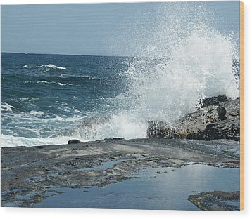 Waves Crashing On The Forbidden Isle Wood Print by Kai Hyde