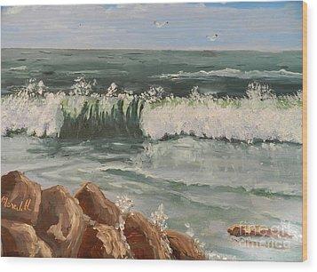 Waves Crashing Wood Print by Pamela  Meredith