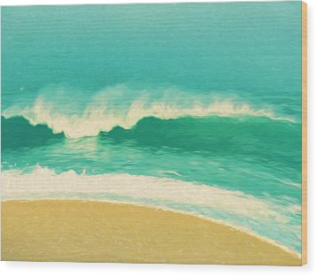 Wood Print featuring the painting Waves by Douglas MooreZart