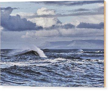 Waves In Easkey Wood Print by Tony Reddington