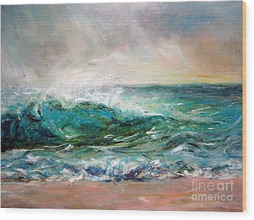 Wood Print featuring the painting Waves by Jieming Wang
