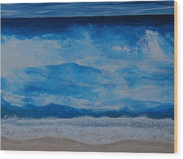 Wood Print featuring the painting Waves by Linda Bailey