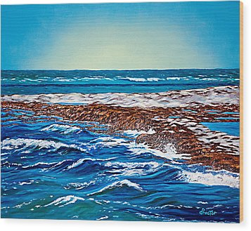Waves Of Blue Wood Print by Donna Proctor