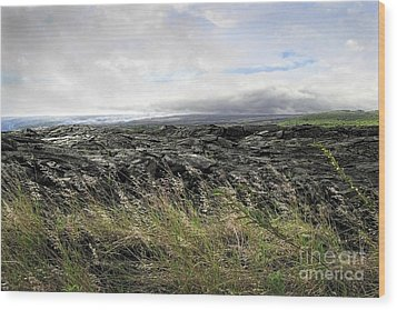 Wood Print featuring the photograph Waves Of Clouds Sea Lava And Grass by Ellen Cotton