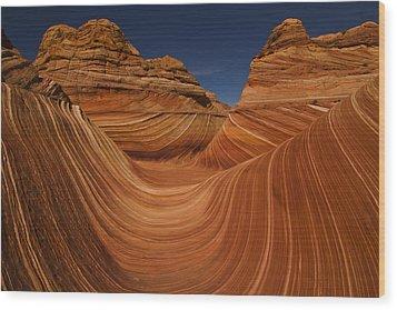 Waves Of Sandstone Wood Print by Kenan Sipilovic
